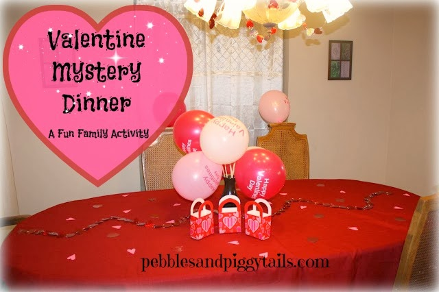 here is a picture of our very first mystery dinner about 5 years ago simple but festive see how we covered the kitchen area with curtain so they couldnt - Valentine Dinner Party Ideas