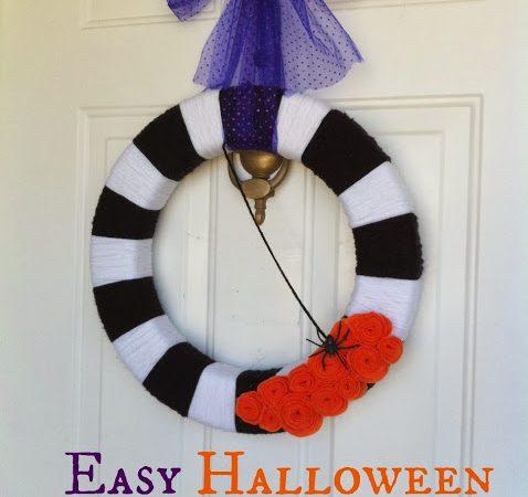 Simple Yarn Wreath for Halloween