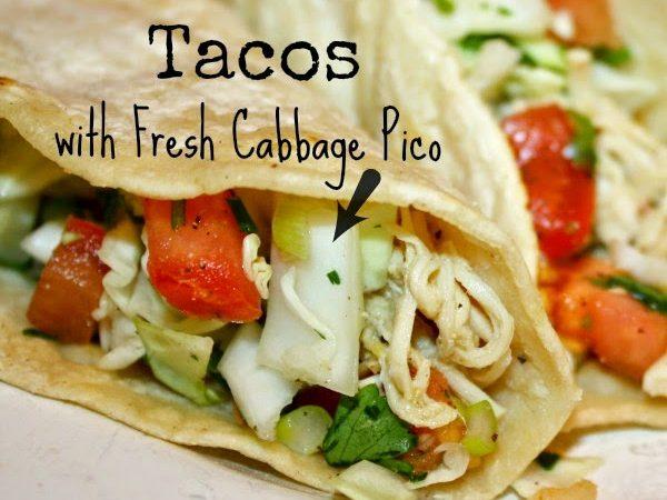 Green Chili Tacos w/ Fresh Cabbage Pico