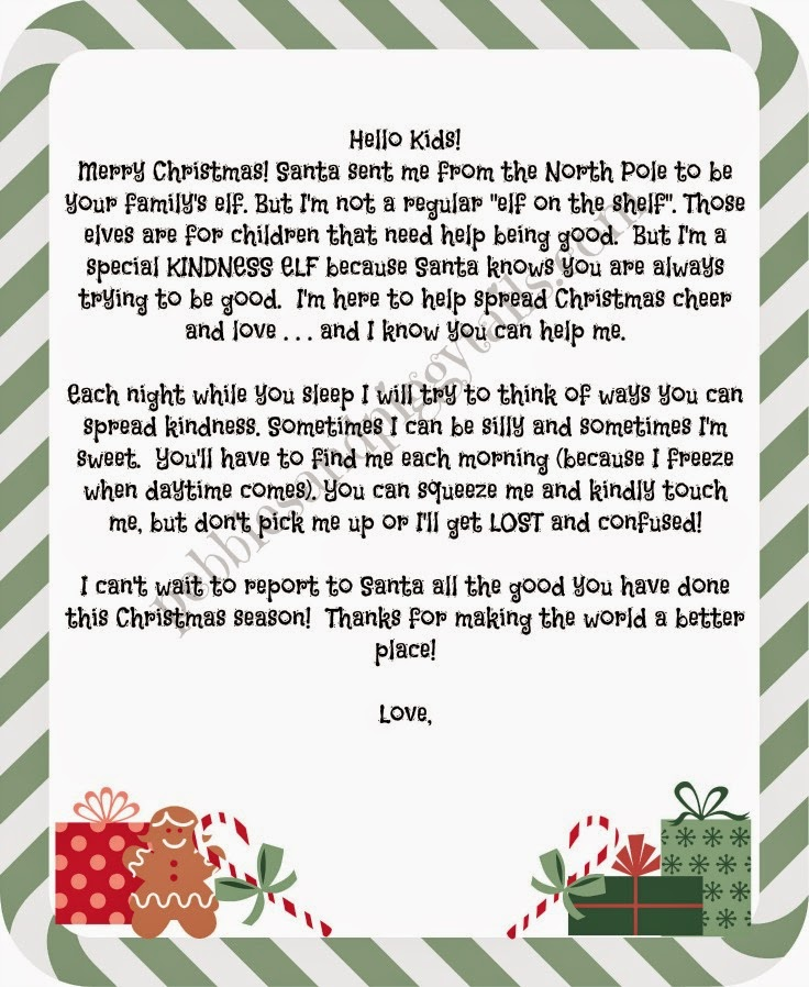 Christmas kindness elves making life blissful this is our letter from the kindness elves the letter reminds my kids that santa knows they are trying their best to be good spiritdancerdesigns