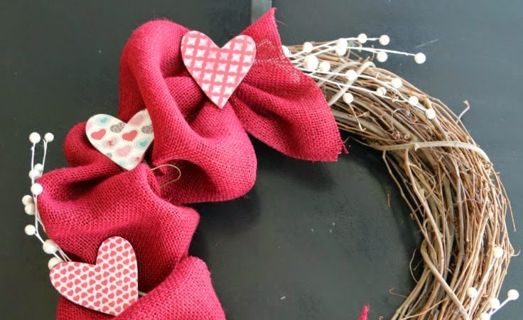 DIY Valentine Wreath with Burlap and Grapevine
