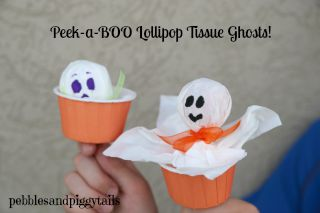 Peek-a-boo Tissue Ghosts for Halloween