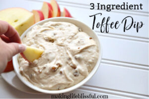 apple dip made of toffee and cream cheese