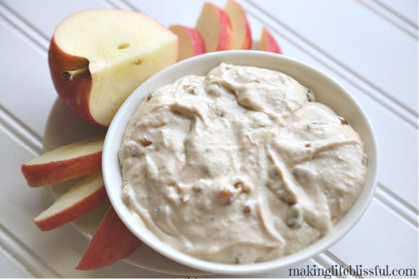 toffee apple dip made with cream cheese
