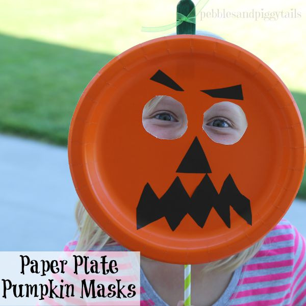 Young kids will like making this jack \u0027o lantern mask with any face they like. & Easy Paper Plate Pumpkin Mask Craft | Making Life Blissful