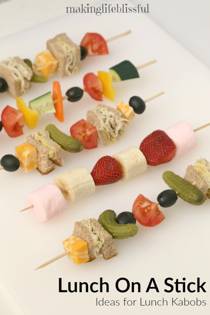 School Lunch on a Stick to Keep Lunch interesting!