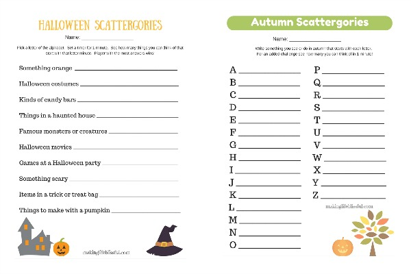 Printable Halloween and Fall Scattergories game