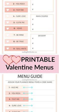 Printable Valentine Mystery Dinner Menus