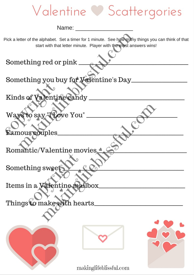 Printable Valentine Scattergories Game!