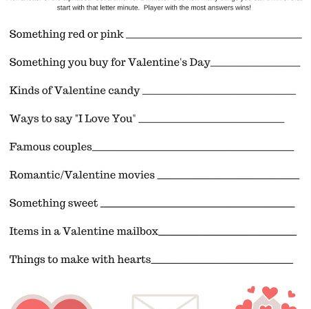 Valentine's Day Scattegories Printable