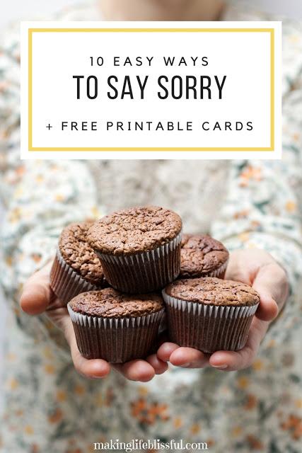 10 Ways to Say Sorry plus free printable