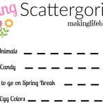 Easter Scattergories Printable for Spring