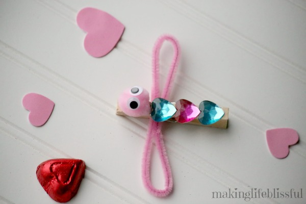 Valentine Clothespin Dragonfly Craft