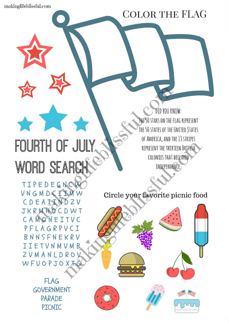 4th of July party game printables