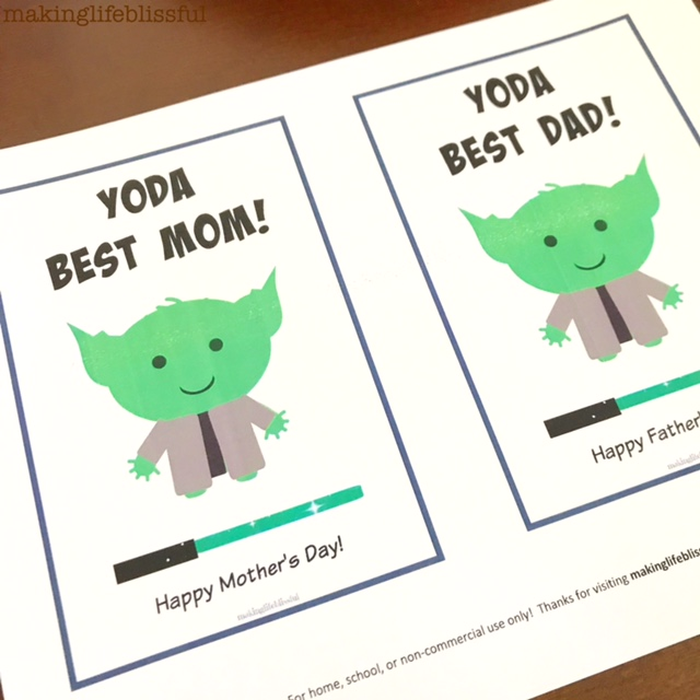 YODA BEST DAD Star Wars Father's Day Printable