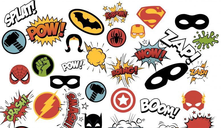 image relating to Free Printable Superhero Photo Booth Props referred to as Totally free Superhero Bingo Printable and Superhero Printable Pack