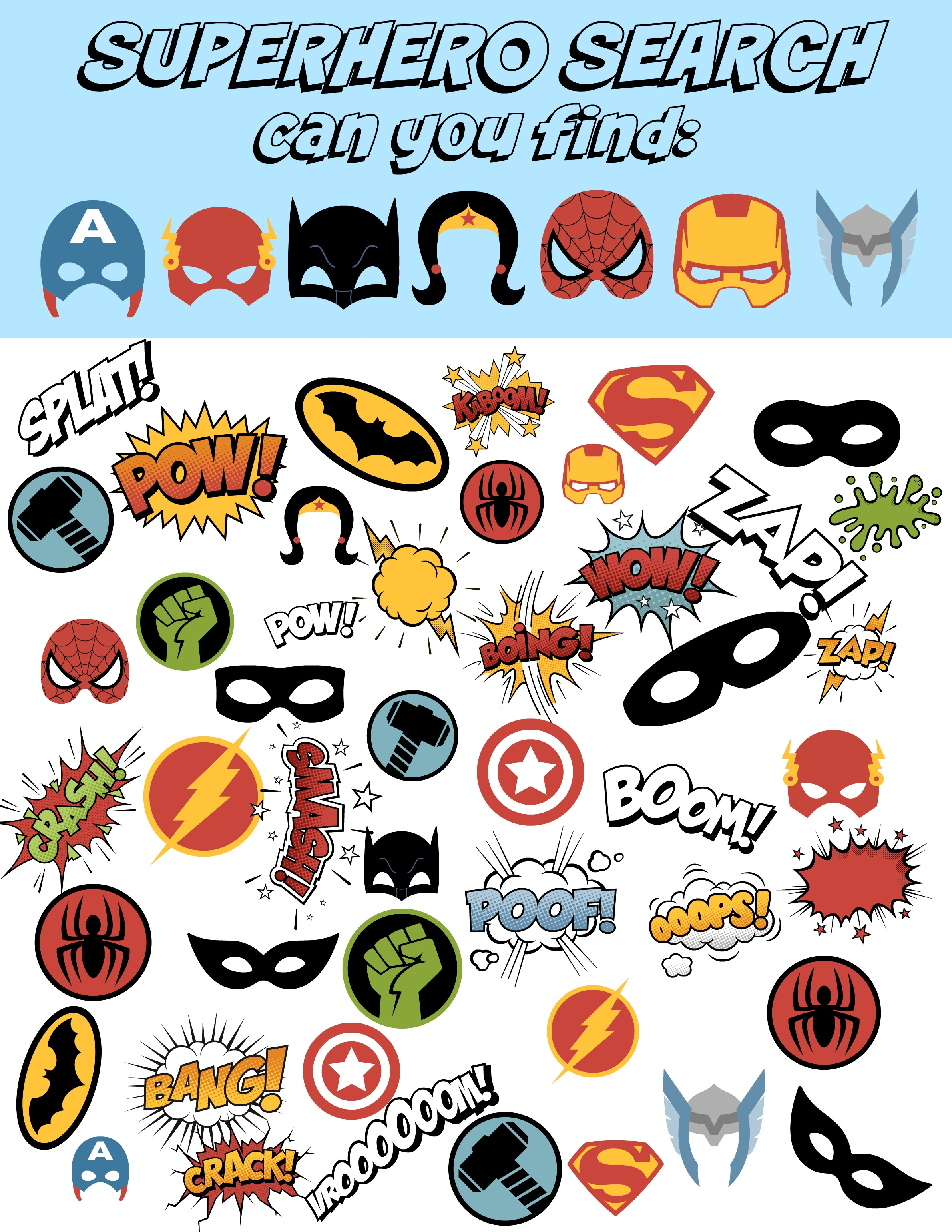 photograph about Free Printable Superhero Photo Booth Props referred to as Cost-free Superhero Bingo Printable and Superhero Printable Pack