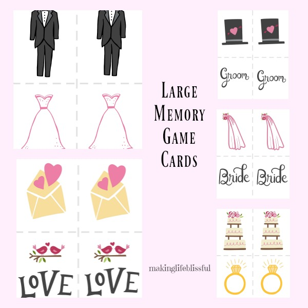 here are more details about the bridal shower game printables so you get the large bridal shower concentration game and the marriage advice cards
