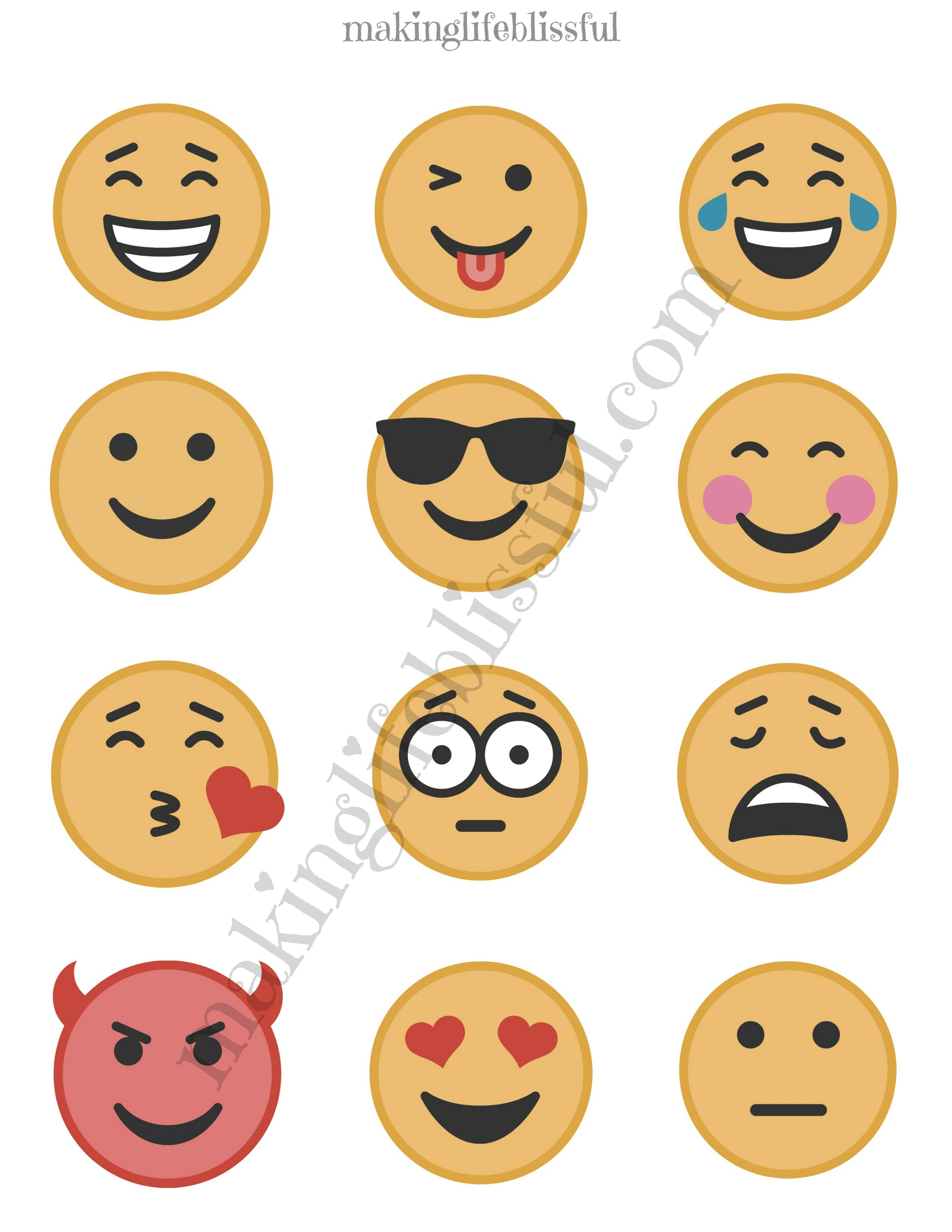 image about Emoji Feelings Printable named Totally free Emoji Social gathering Printables Creating Lifetime Blissful