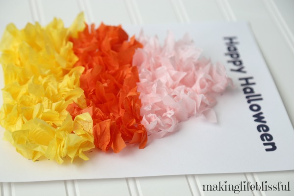 candy corn tissue paper craft for kids