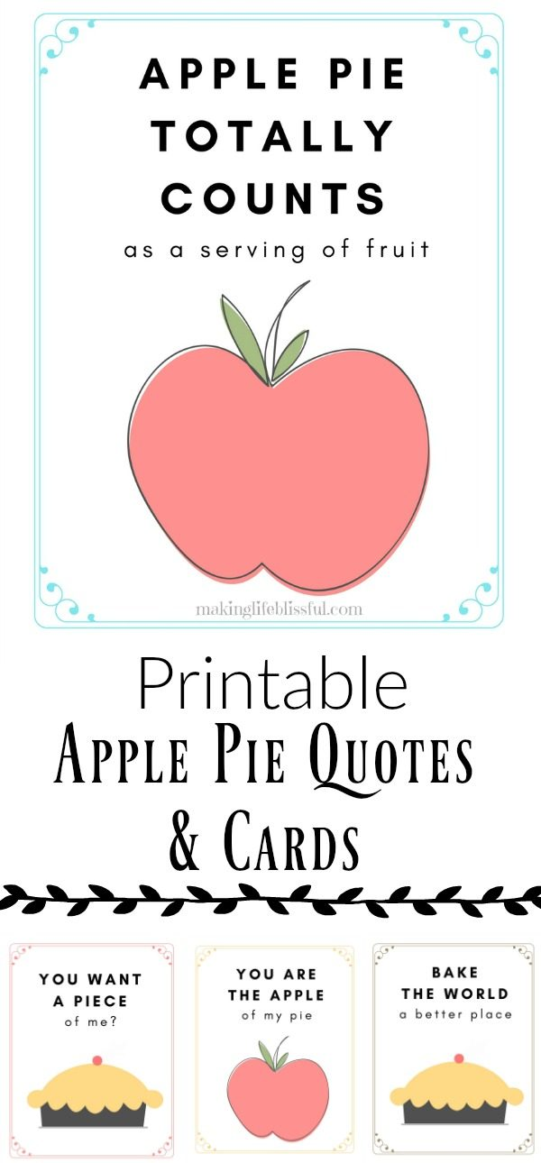 apple pie printable quotes and cards
