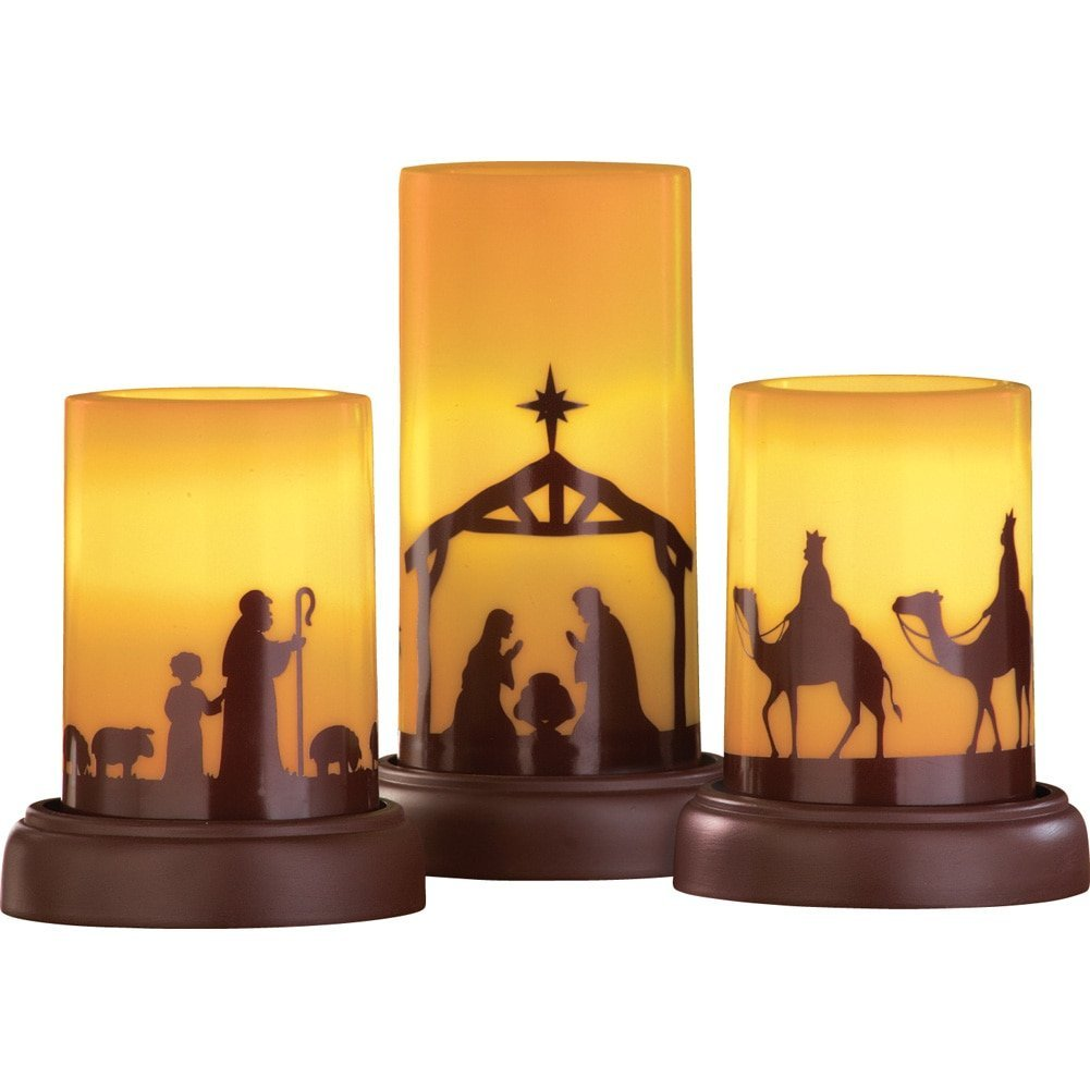 Flameless Candle Nativity Set