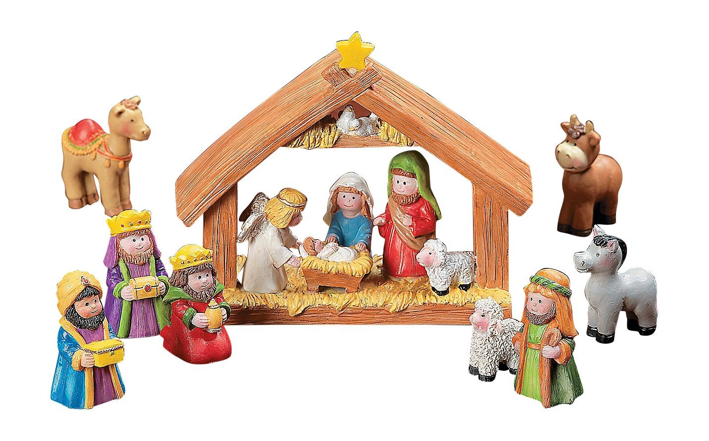 Miniature Kids Nativity Scene