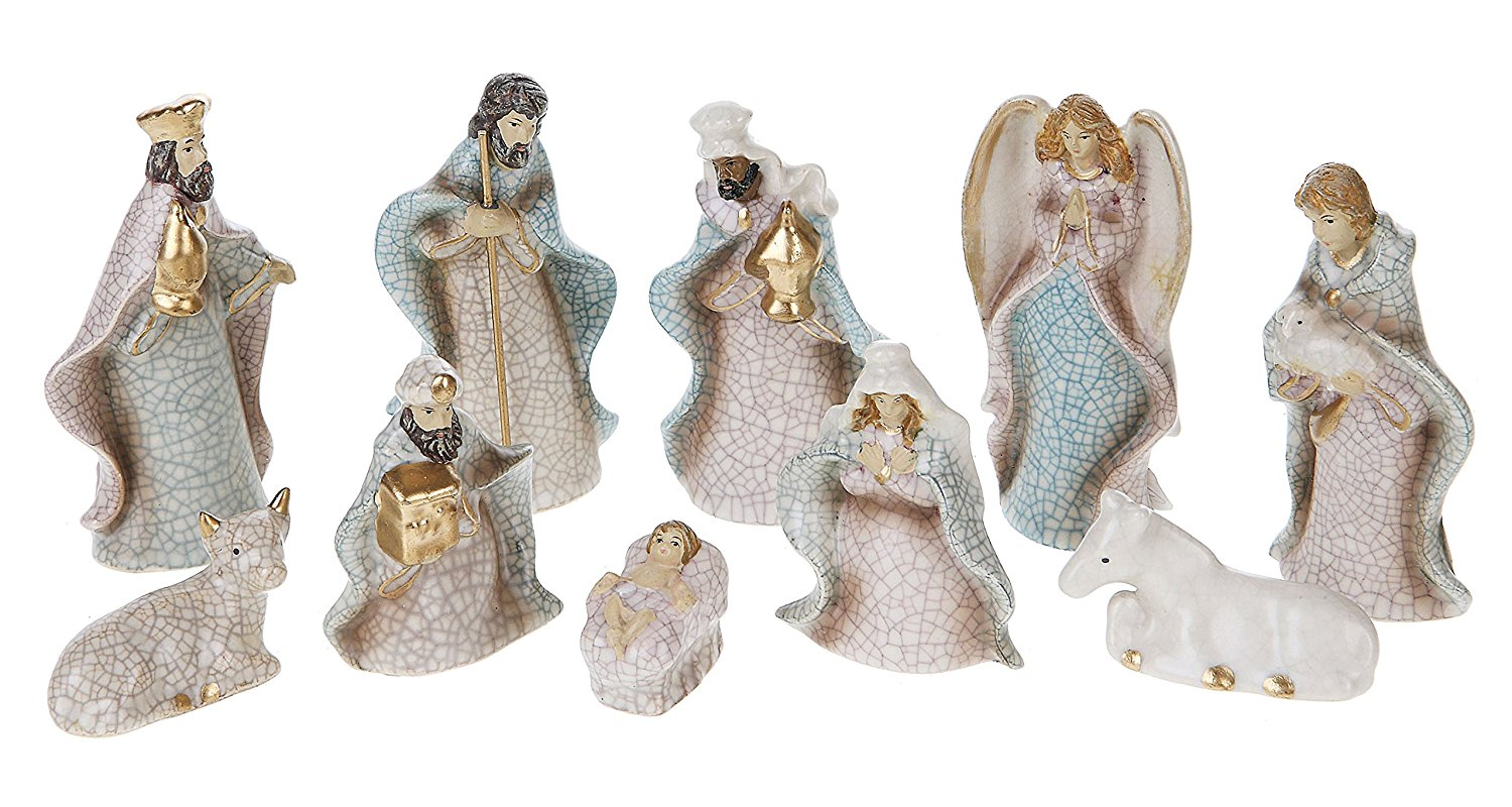 Stoneware Crackled Nativity