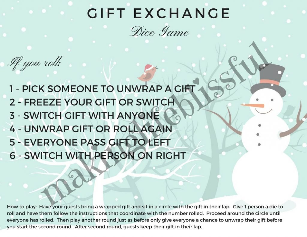 Christmas Gift Exchange Dice Game Printable