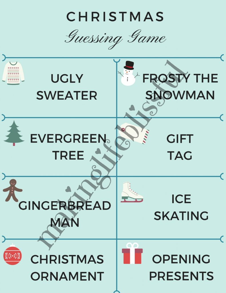 Christmas Guessing Game Printables for Headbandz game and Charades