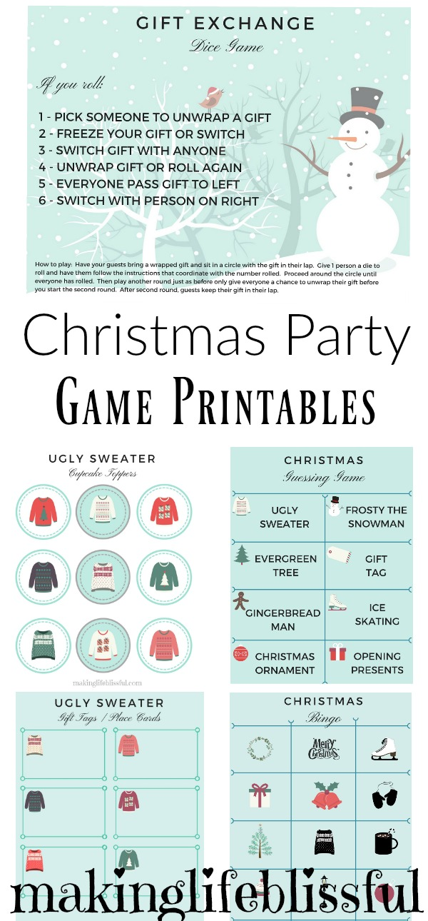Christmas Gift Exchange Dice Game Printable.Free Christmas Party Game Printables Making Life Blissful