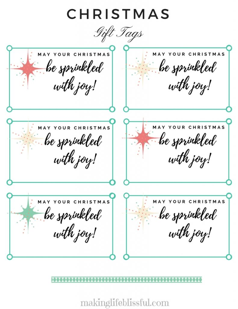 Christmas Sprinkled with Joy Gift Tag Printable