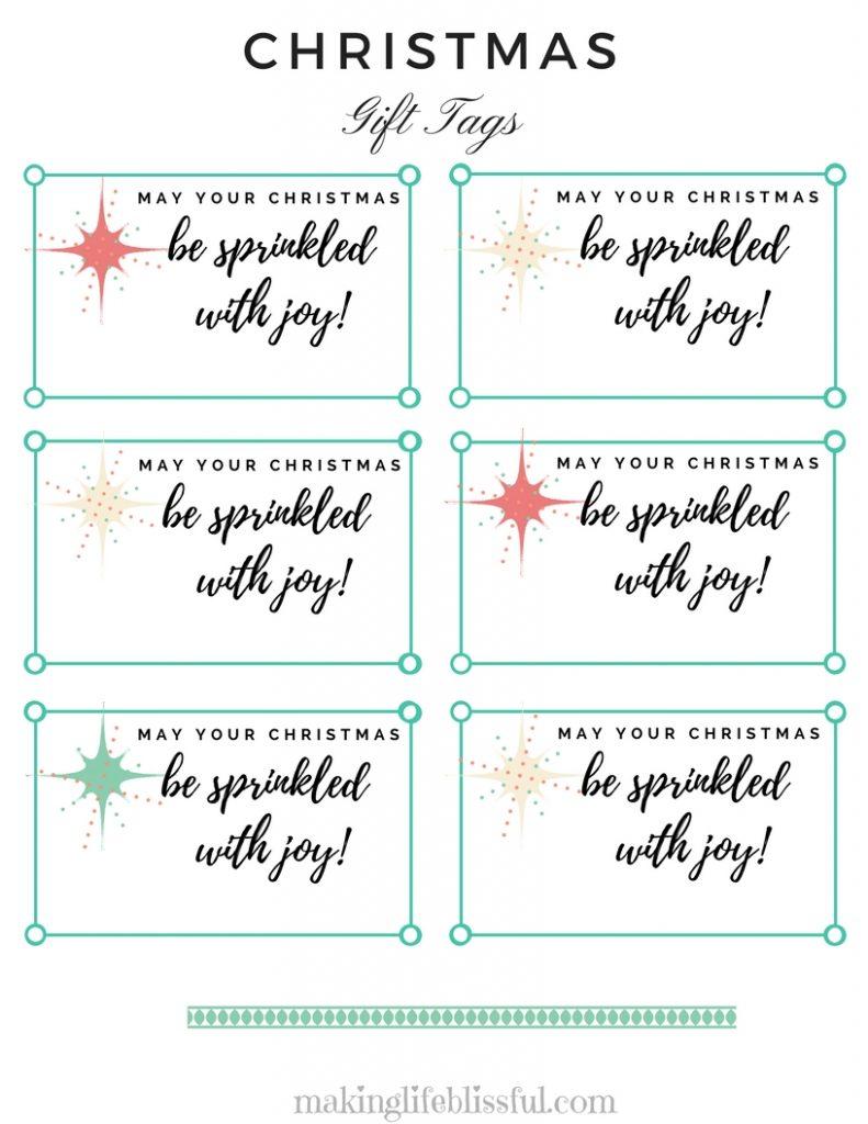 Christmas Sprinkled with Joy Gift Tag Printable