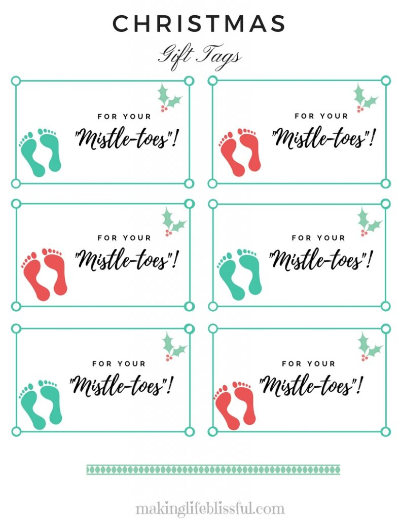 For Your Mistle-Toes Sock Printable Christmas Tag
