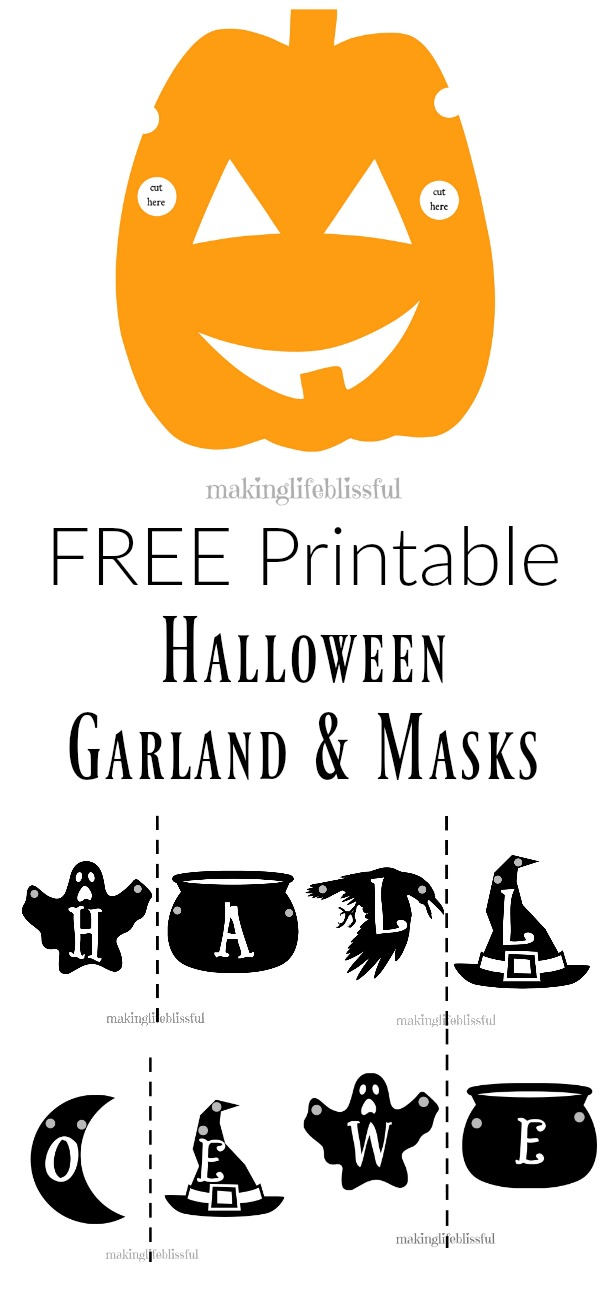free printable halloween garland sign and masks