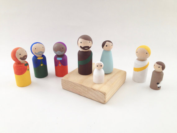 Wooden Peg Nativity Set of 8