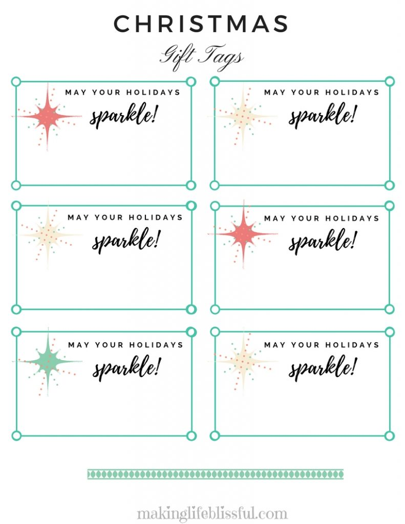 Christmas Sparkle Gift Tag Printable