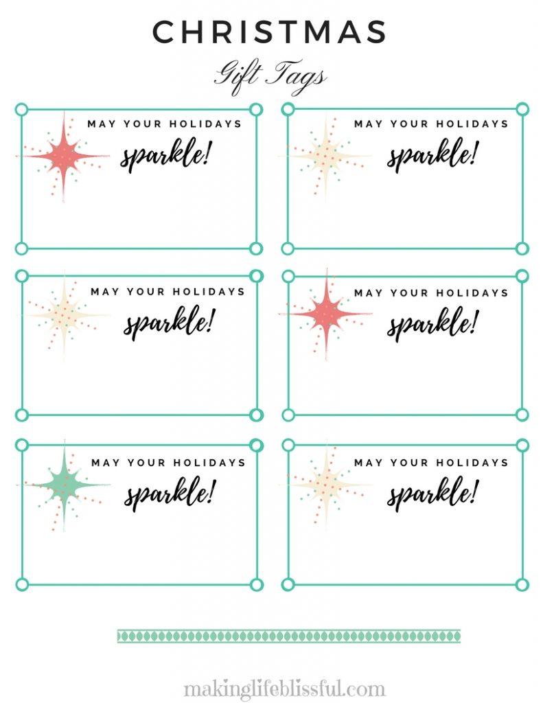 Christmas Sparkle Gift Tag Printable