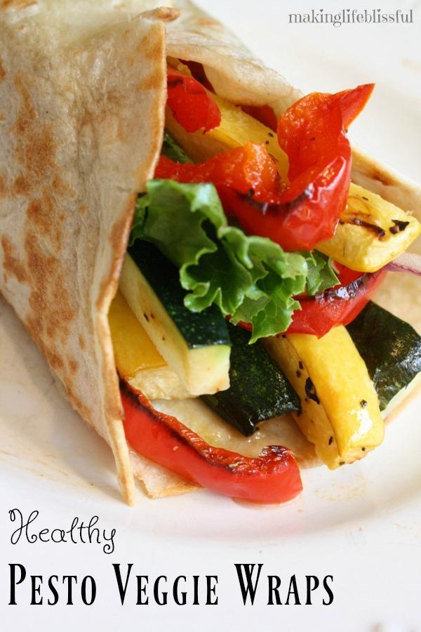 Healthy Pesto Veggie Wraps for Dinner!