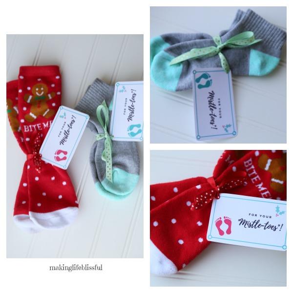 Christmas Sock Mistle-Toes Gift Tag Printable