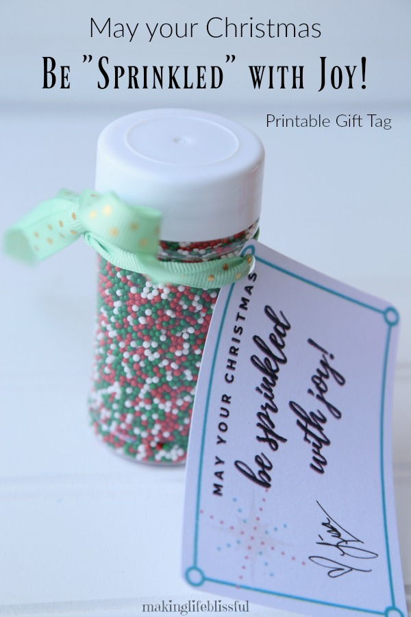 May Christmas Be Sprinkled With Joy Gift Tag Printable