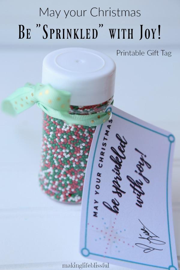 May Christmas Be Sprinkled With Joy Gift Tag Printable