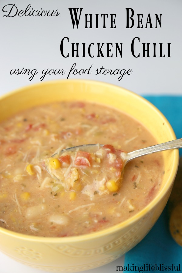 White Bean Chicken Chili made with your pantry food storage