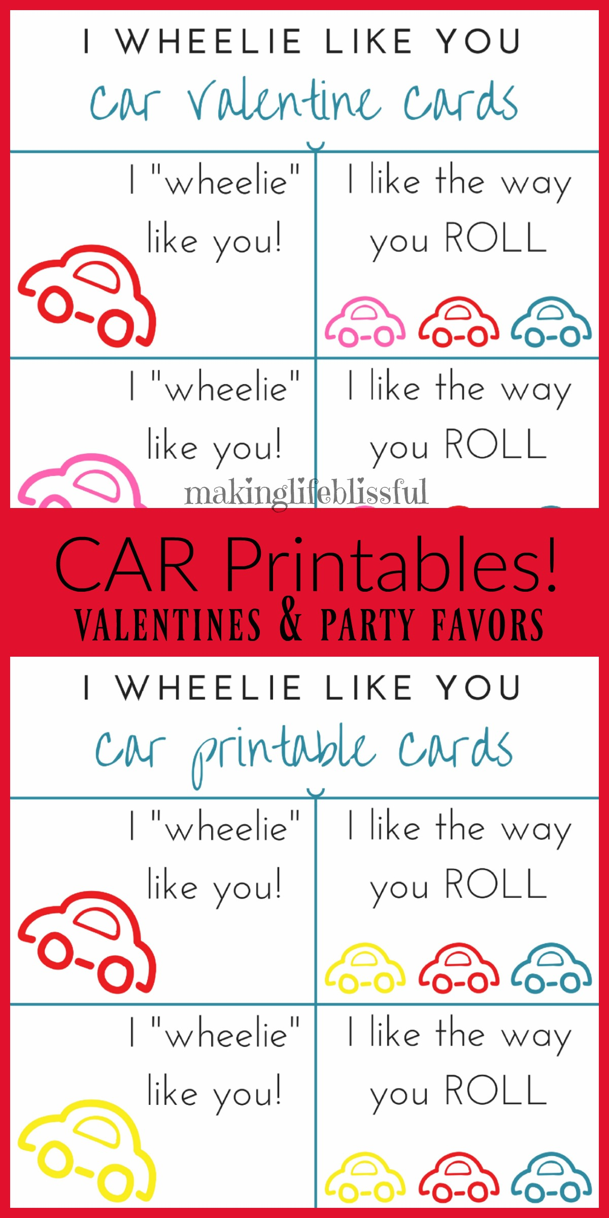 Free Printable Car Valentine Cards