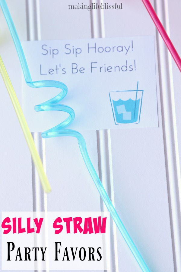 Sippin' Straw Party Favors and Valentine Printables