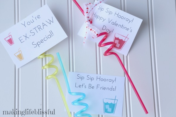 Silly Straw Printable Valentines and Party Favors