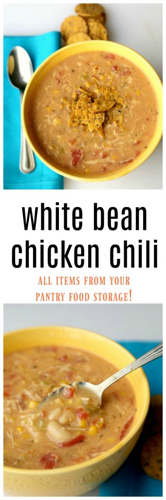 White bean chicken chili using all items from your pantry!