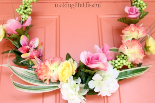 Beautiful Floral Wreath Under $10 to make!