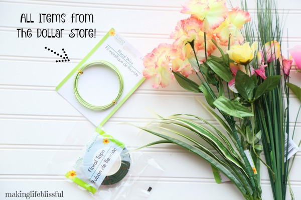 dollar store floral wreath instructions