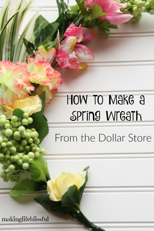 How to make a floral wreath from items at the dollar store!